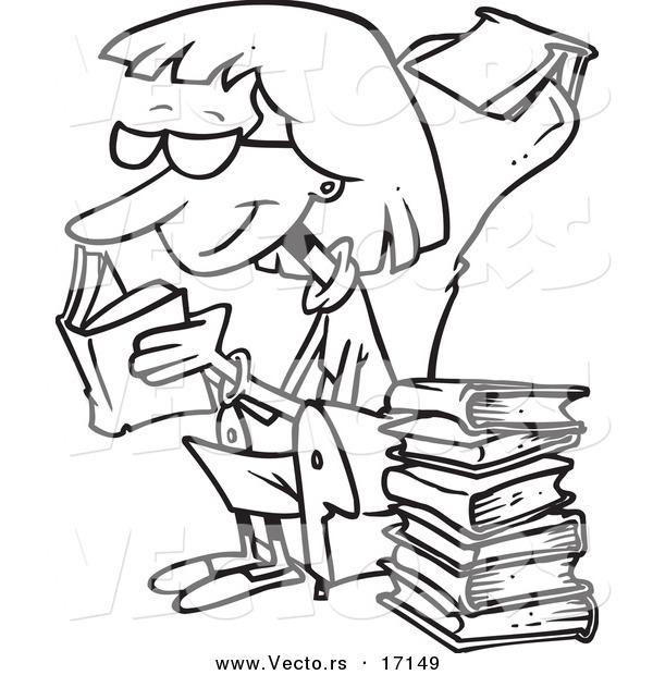 600x620 Vector Of A Cartoon Senior Woman Reading Books