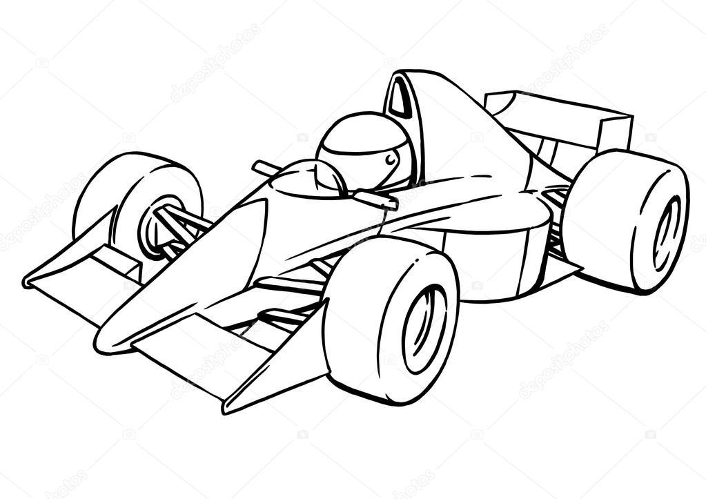 1023x723 Childs Funny Cartoon Formula Race Car Illustration Art Stock
