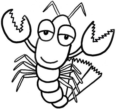450x424 How To Draw Cartoon Lobsters With Easy Step By Step Drawing