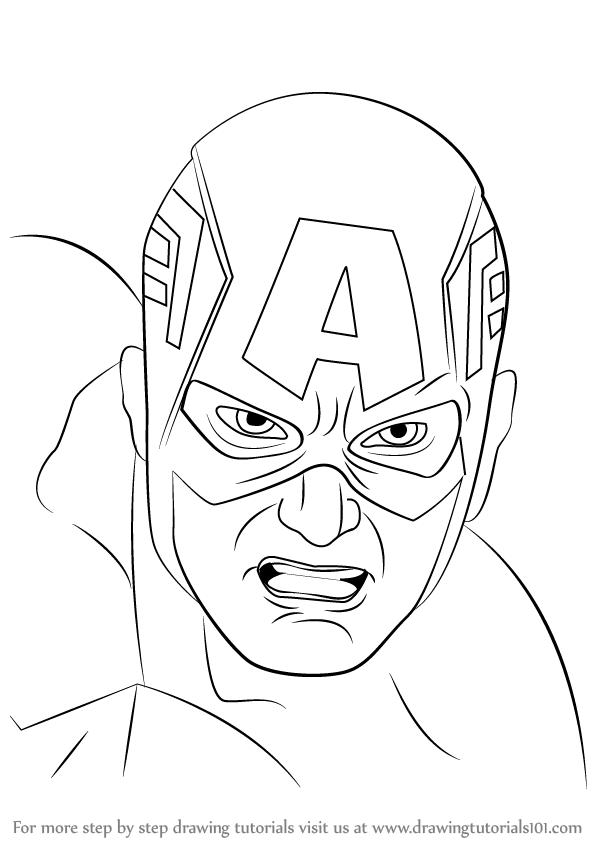 598x844 Learn How To Draw Captain America Face (Captain America) Step By