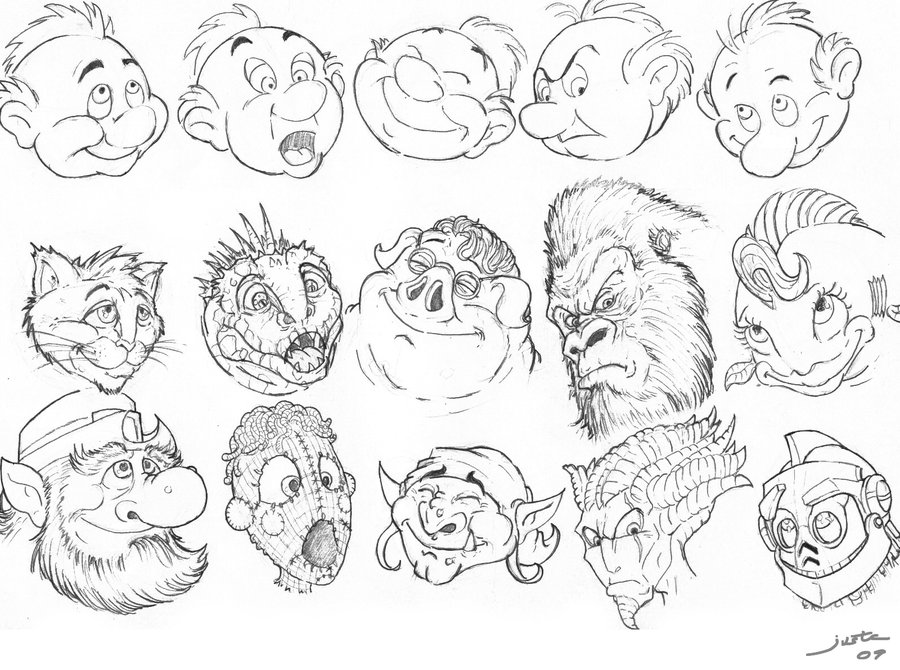 900x670 cartoon faces excercice by artofjustaman on deviantart
