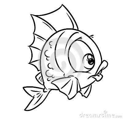 400x386 fish blue cartoon illustration isolated animal character w