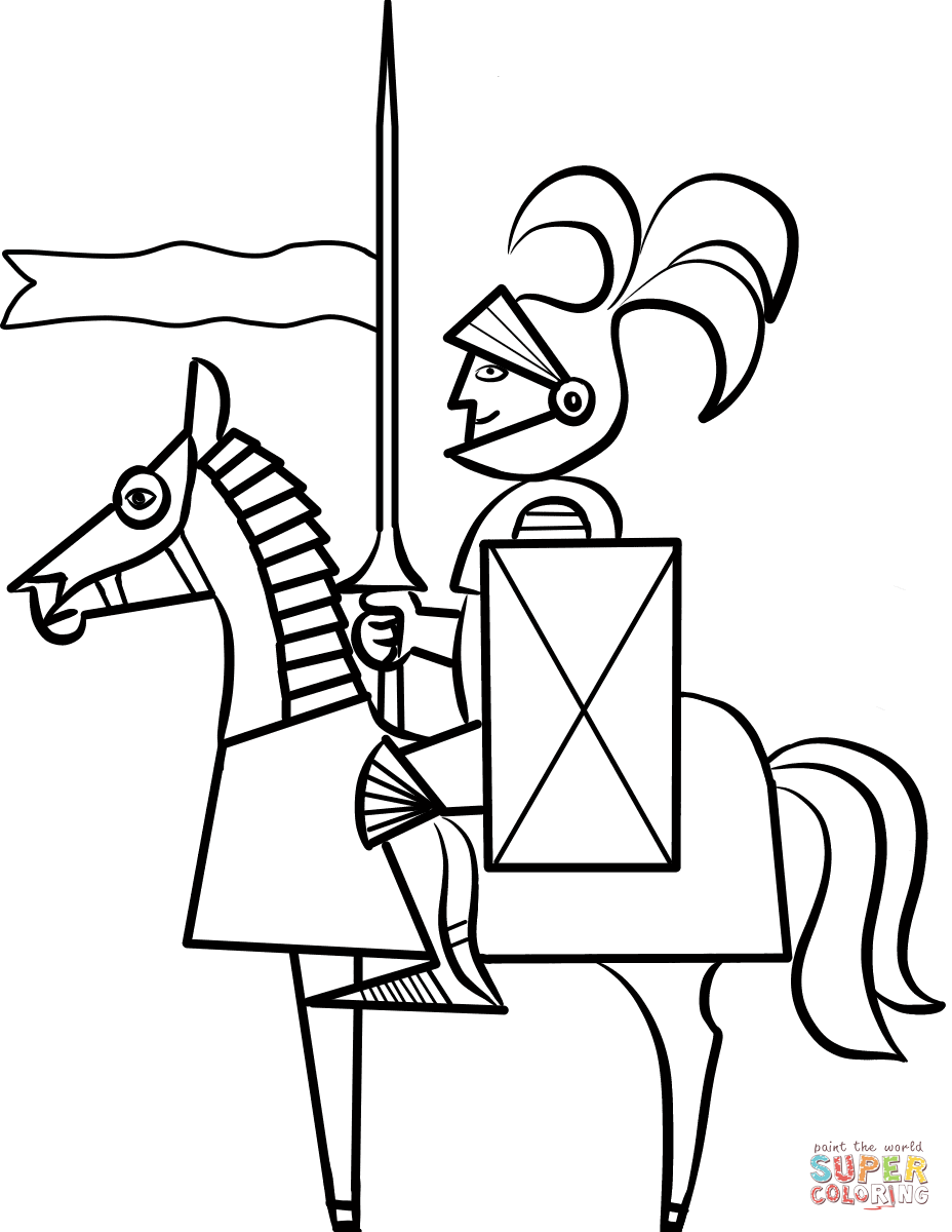 928x1200 Cartoon Knight On Horse Coloring Page Free Printable Coloring Pages