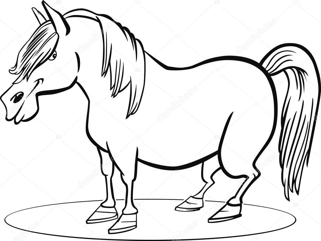 1023x768 Cartoon Pony Horse Coloring Page Stock Vector Izakowski