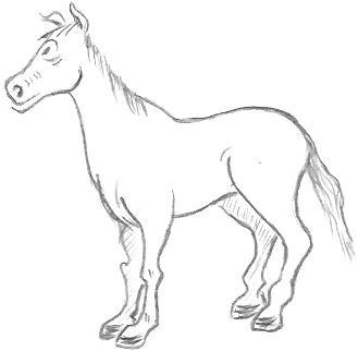 329x322 Colorings Cartoon Character Horse Drawings