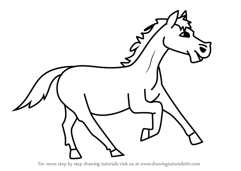 800x567 Learn How To Draw A Cartoon Horse (Cartoon Animals) Step By Step