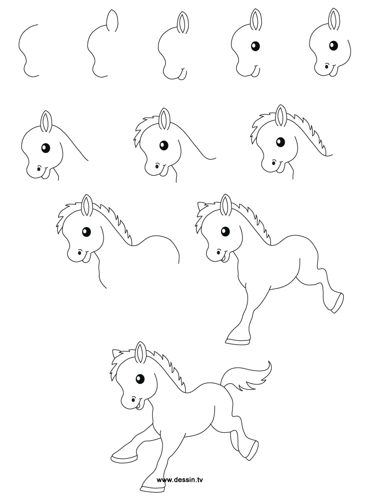 768x1024 Animal Cartoon Drawings Step By Step How To Draw A Horse Step By