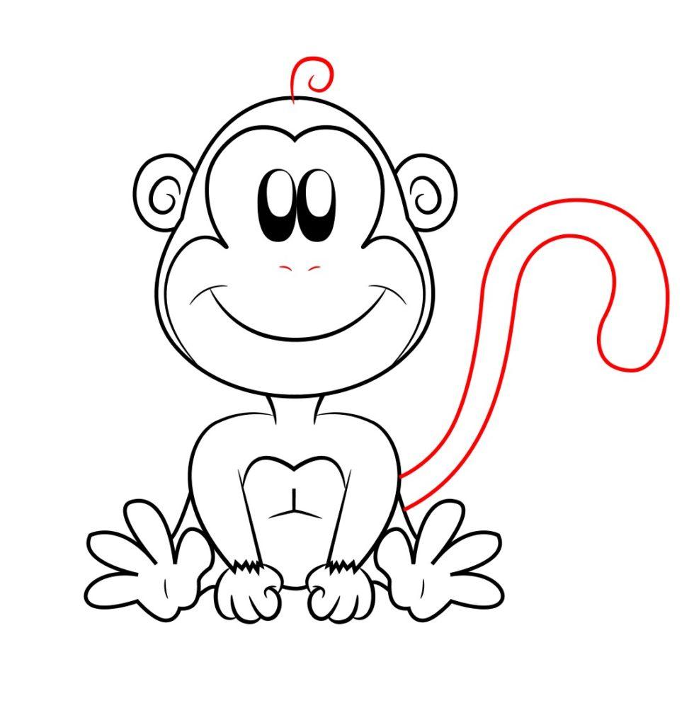 980x1024 Draw A Cartoon Monkey