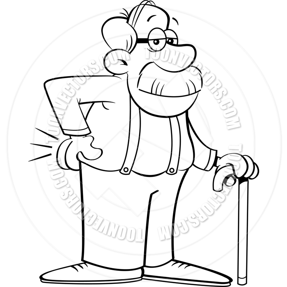 940x940 Cartoon Old Man Leaning On A Cane (Black Amp White Line Art) By