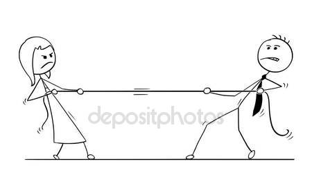 450x279 Conceptual Cartoon Of Business Man And Woman Competition Stock