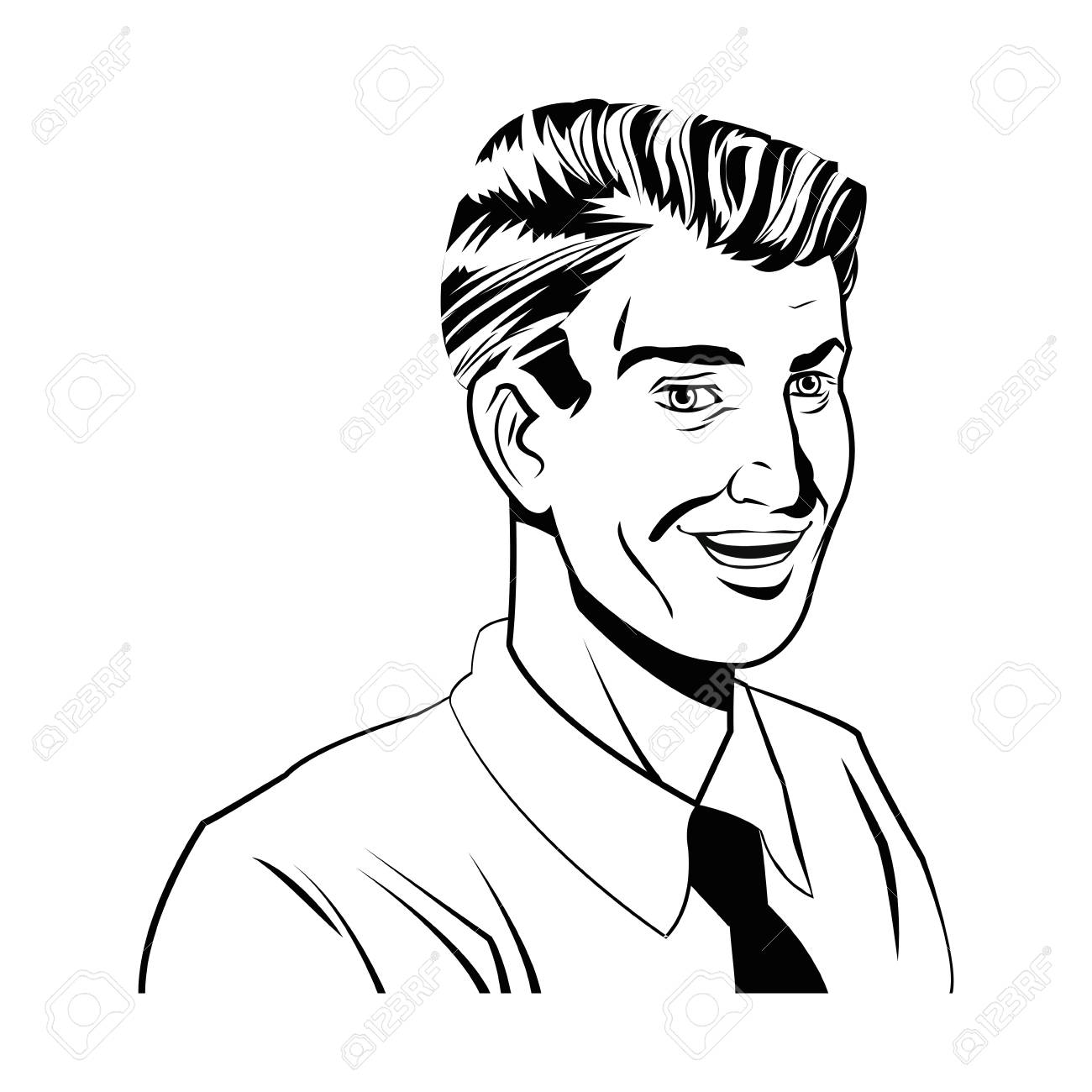 1300x1300 Happy Man Comic Style Black And White Vector Illustration Royalty