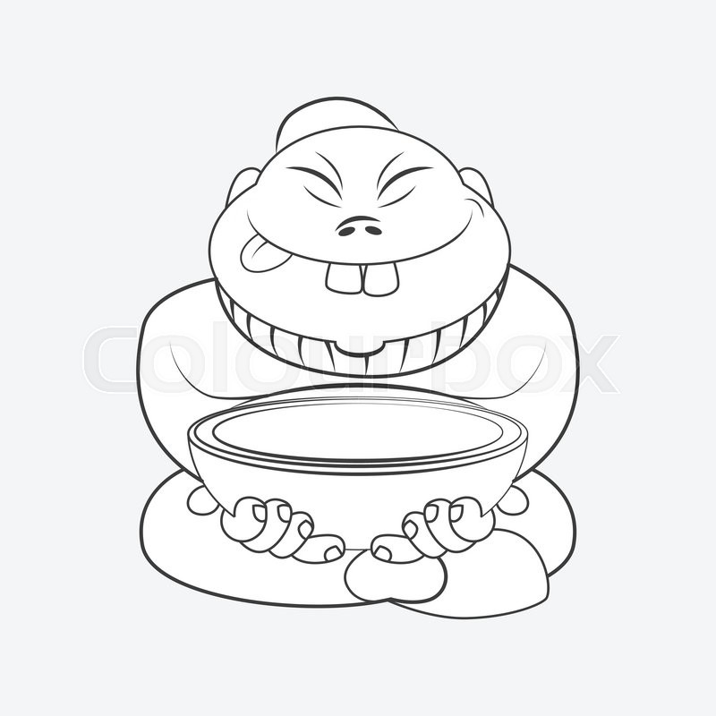 800x800 Line Drawing Cartoon Chinese Man Sitting With A Plate. Cartoon