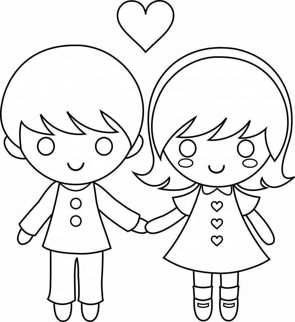 940x1024 Cartoon Boy And Girl To Draw