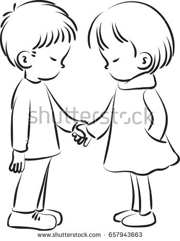 351x470 Cartoon Boys And Girls Black And White Collection