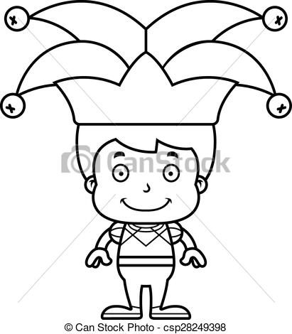 411x470 Cartoon Smiling Jester Boy. A Cartoon Jester Boy Smiling. Eps