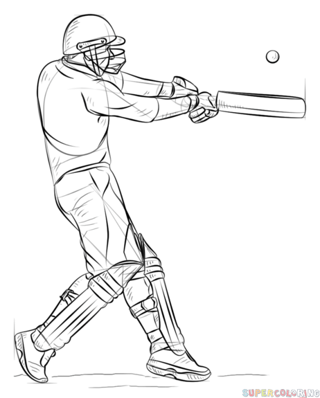 462x575 How To Draw A Cricket Player Step By Step Drawing Tutorials