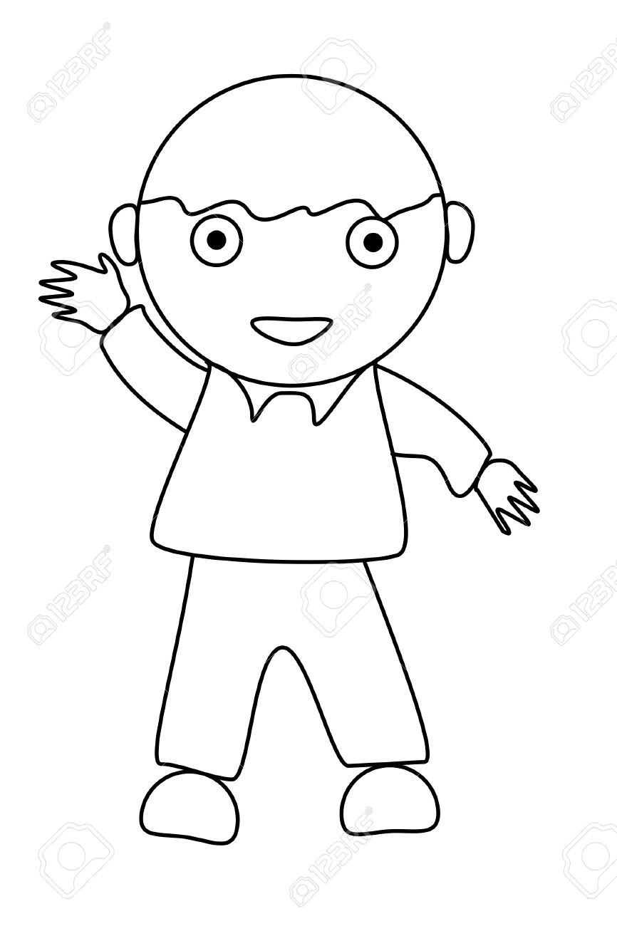 866x1300 Simple Cartoon Of A Cute Boy On White Stock Photo, Picture