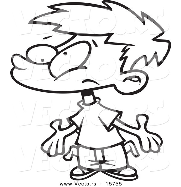 600x620 vector of a cartoon broke boy asking for allowance