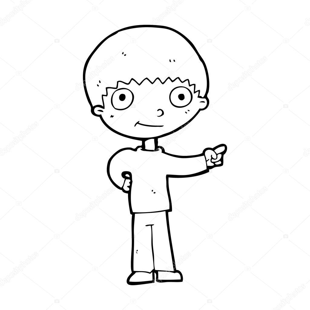 1024x1024 Cartoon Happy Boy Pointing Stock Vector Lineartestpilot