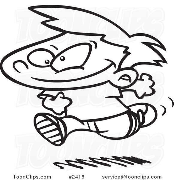 581x600 Cartoon Black And White Line Drawing Of A Boy Running