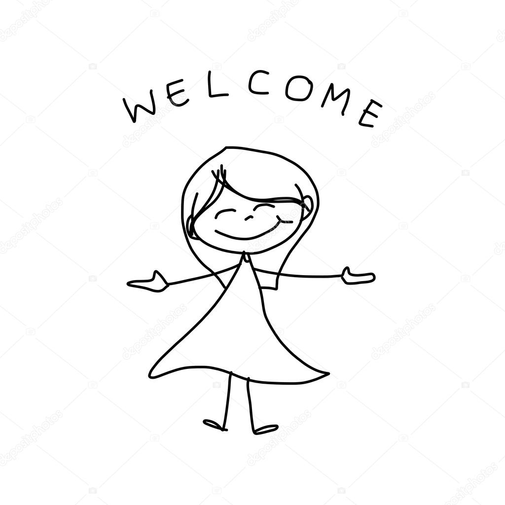1024x1024 Hand Drawing Cartoon Of Happy Girl In Dress With Welcome Sign