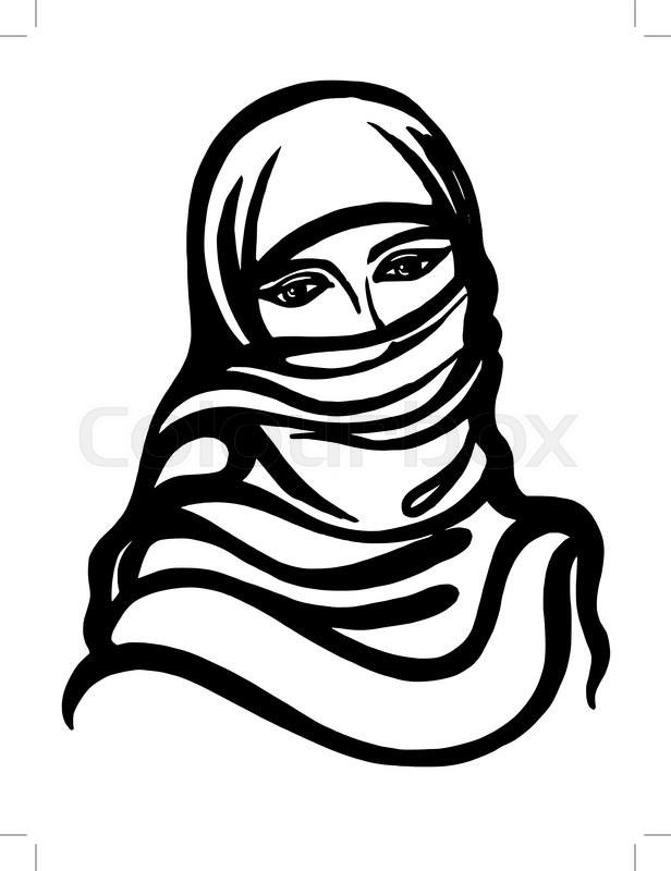 616x800 Hand Drawn, Cartoon, Sketch Illustration Of Muslim Girl Stock