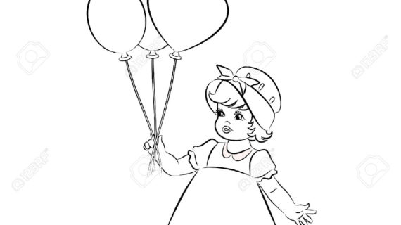 570x320 Little Girl Cartoon Drawing Vintage Cartoon Little Girl. Royalty