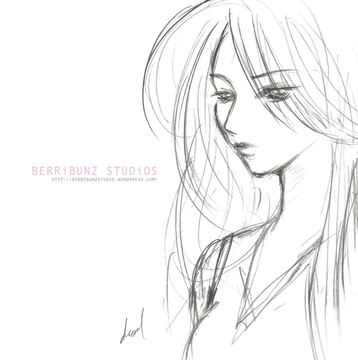 1239x1246 Sad Girl Cartoon Sketch
