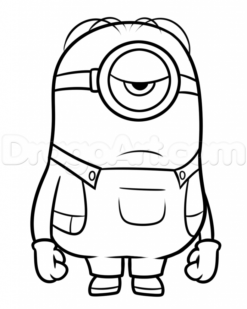 821x1024 Cartoon Drawing Of Minion How To Draw A Minion