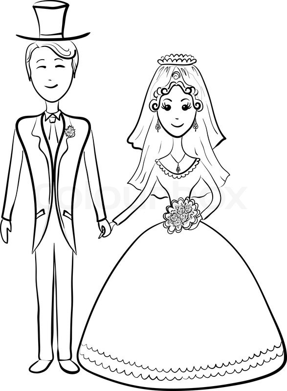 587x800 Cartoon, The Bride And Groom During The Wedding Ceremony, Contours