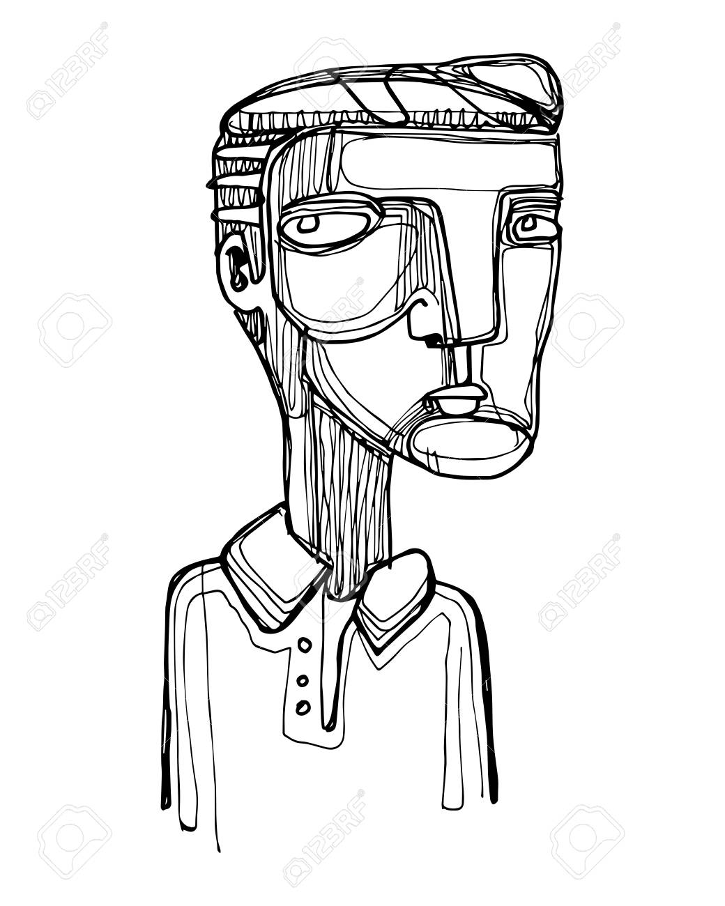 1040x1300 Vector Illustration Or Drawing Of A Cartoon Of A Man With Skeptic