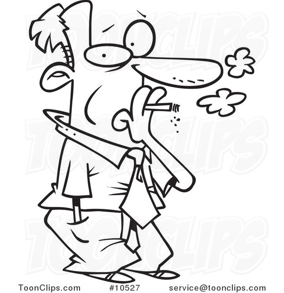 581x600 Cartoon Black And White Line Drawing Of A Business Man Smoking