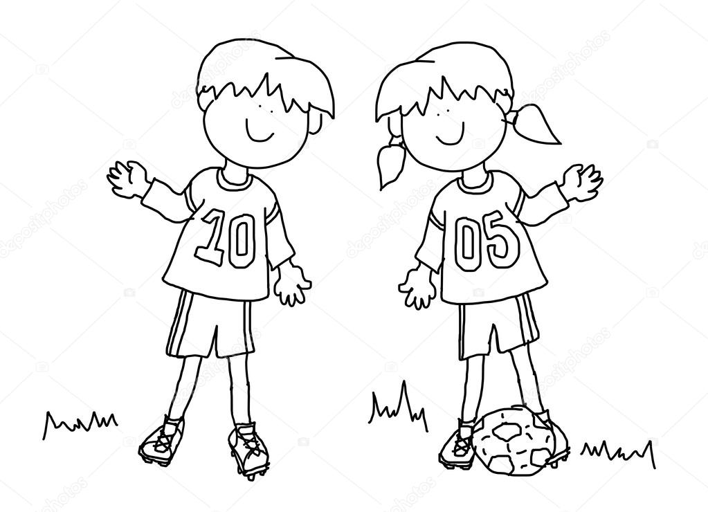 1023x740 Boy And Girl Cartoon Soccer Player Stock Photo Mirage3