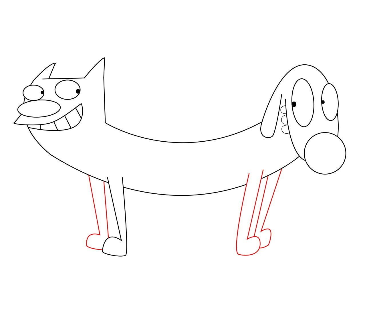 1283x1080 How To Draw Catdog Step By Step