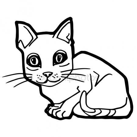 450x450 Sick Cat Cartoon Coloring Page Stock Vector Izakowski