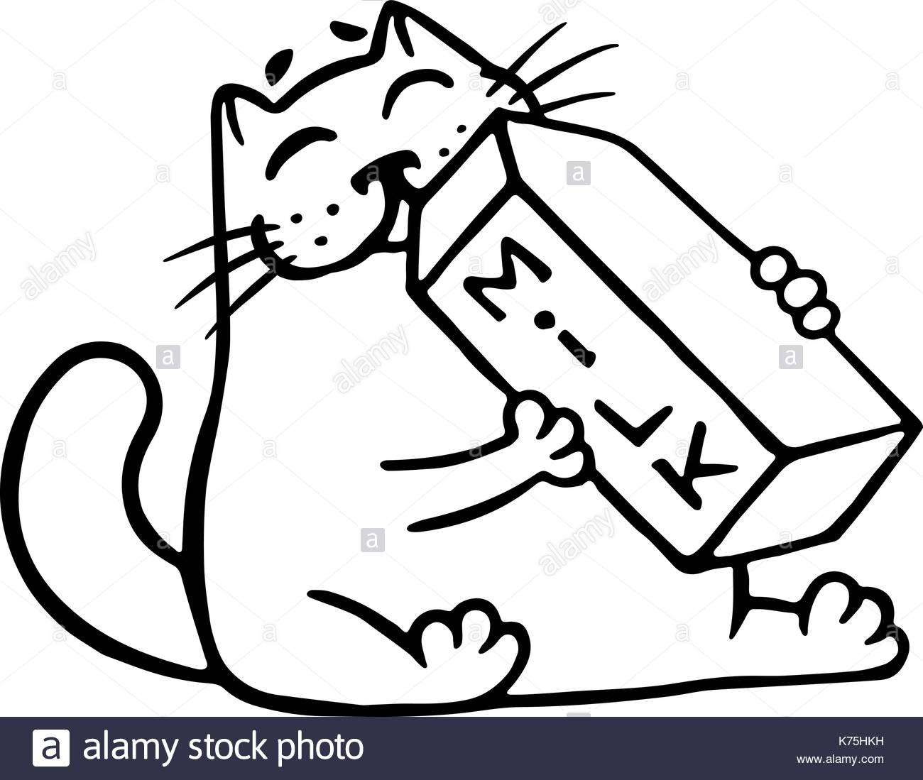 1300x1099 Cartoon Cat Is Drinking Milk. Funny Cartoon Cool Character