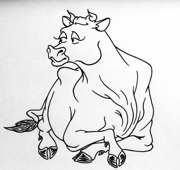 620x587 18 Best Cartoon Drawings Bovinescattle (Cows And Bulls) Images