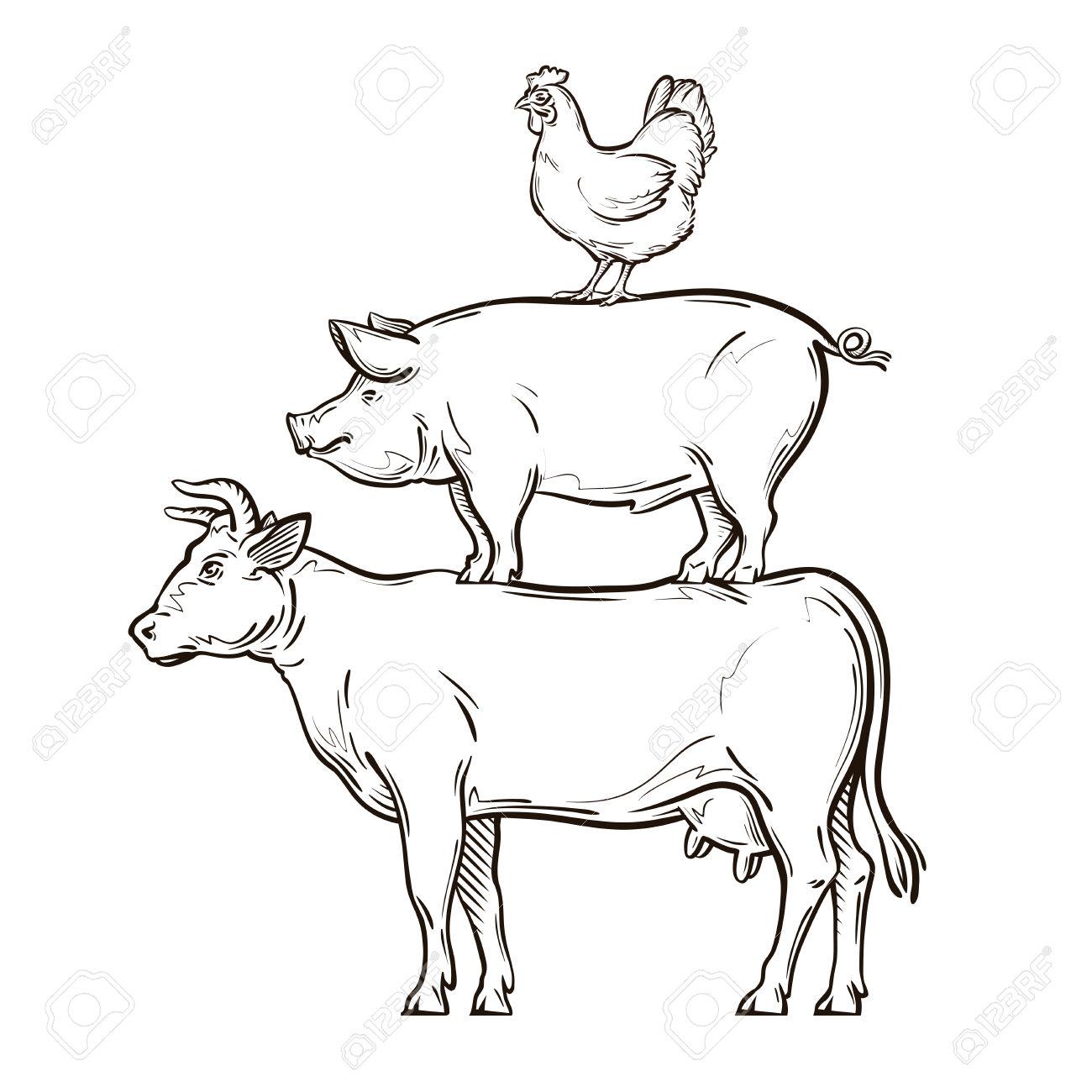 1300x1300 Drawn Cow Line Art