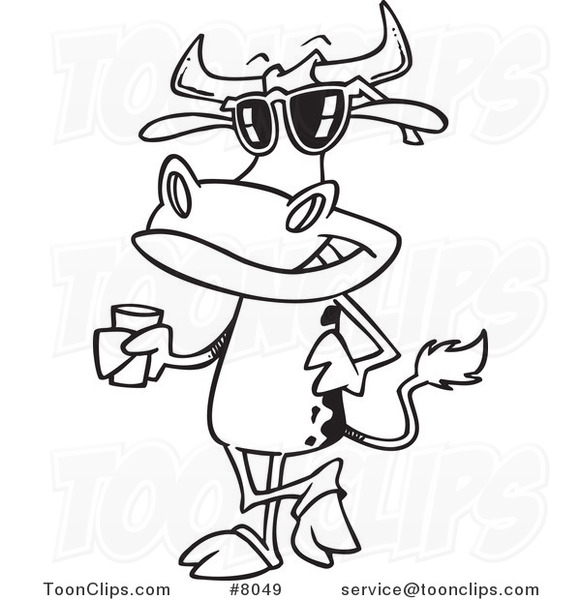 581x600 Cartoon Blacknd White Line Drawing Of Cow Standing