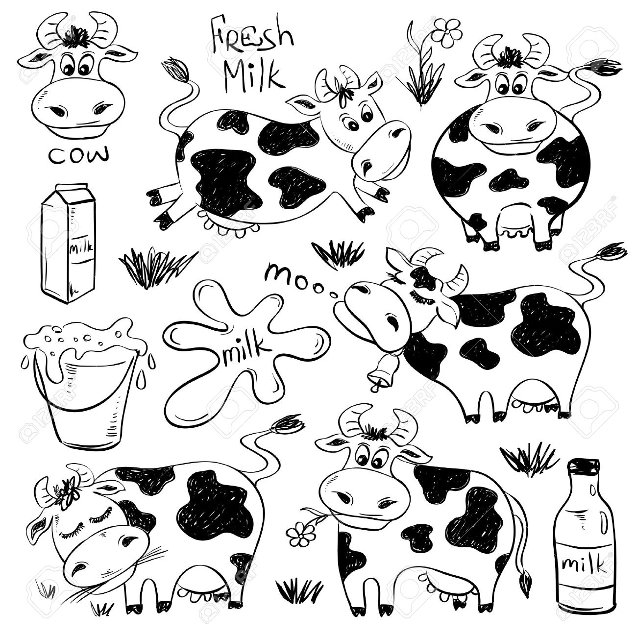 1300x1300 Set Of Isolated Funny Sketch Cow And Milk Product Icons. Cartoon