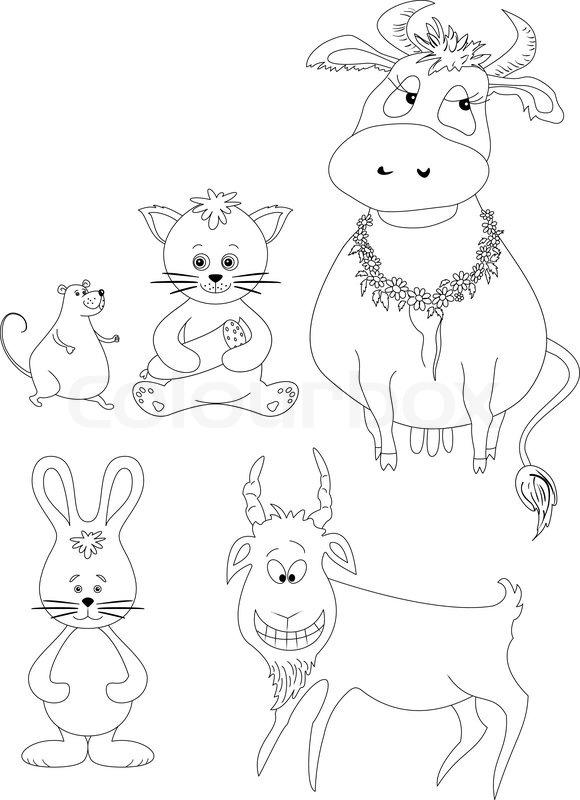 580x800 Set Cartoon Animals Cow, Cat With Sausage, Mouse, Goat, Rabbit