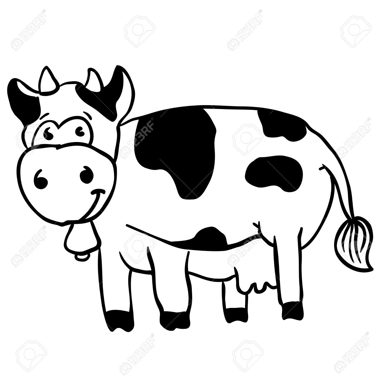 1300x1300 Simple Black And White Cow Cartoon Royalty Free Cliparts, Vectors