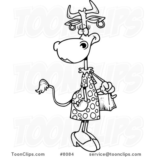 581x600 Cartoon Blacknd White Line Drawing Of Female Cow Carrying
