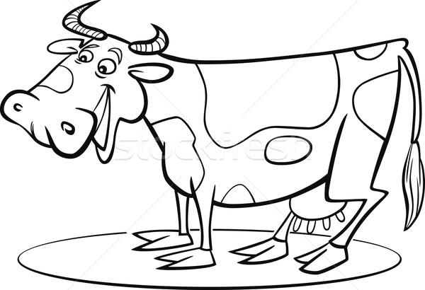 600x410 Cartoon Cow Coloring Page Vector Illustration Igor Zakowski