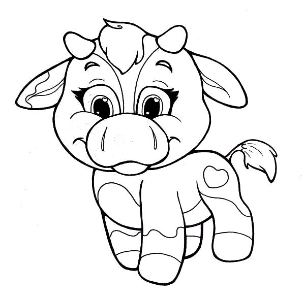 600x589 Coloring Pages For Girls Baby Cow In Fancy Draw Printable
