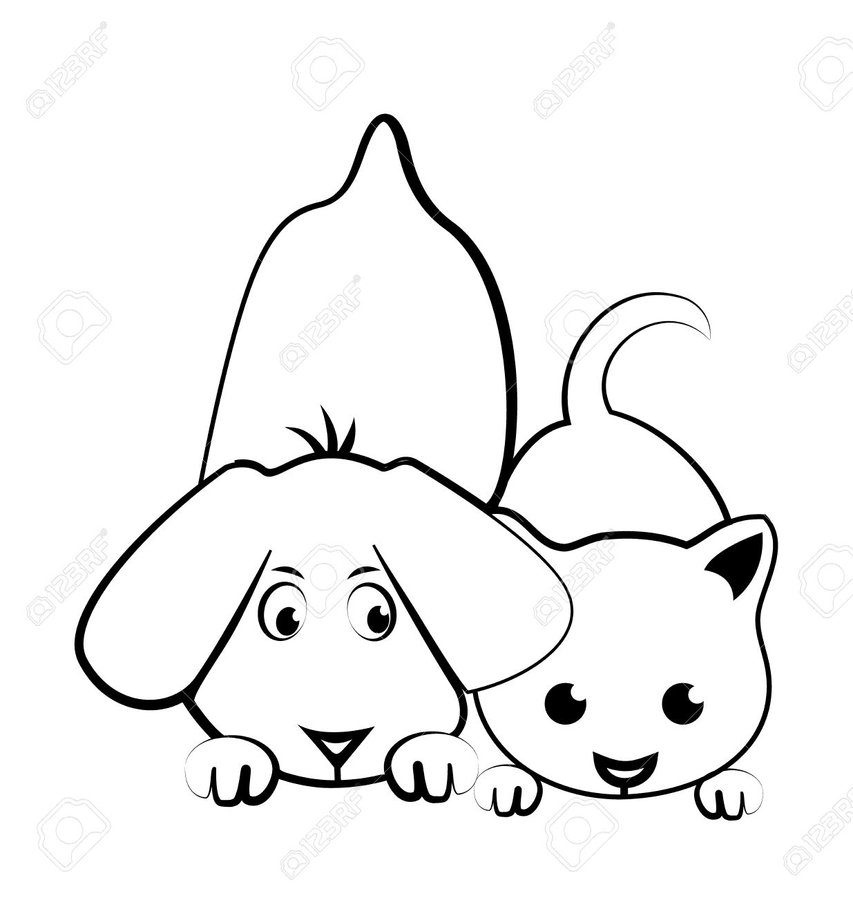 1235x1300 Dog And Cat Cartoon Silhouette Logo Vector Royalty Free Cliparts
