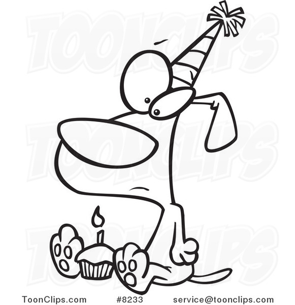 581x600 Cartoon Black And White Line Drawing Of A Lonely Birthday Dog