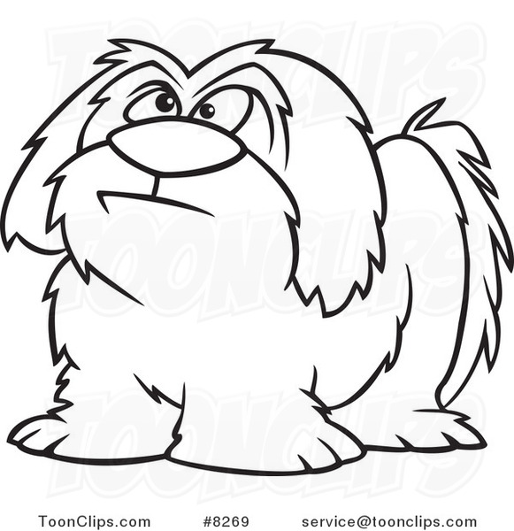 581x600 Cartoon Black And White Line Drawing Of A Shaggy Dog