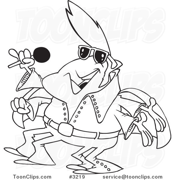 581x600 Cartoon Black And White Line Drawing Of An Elvis Impersonator