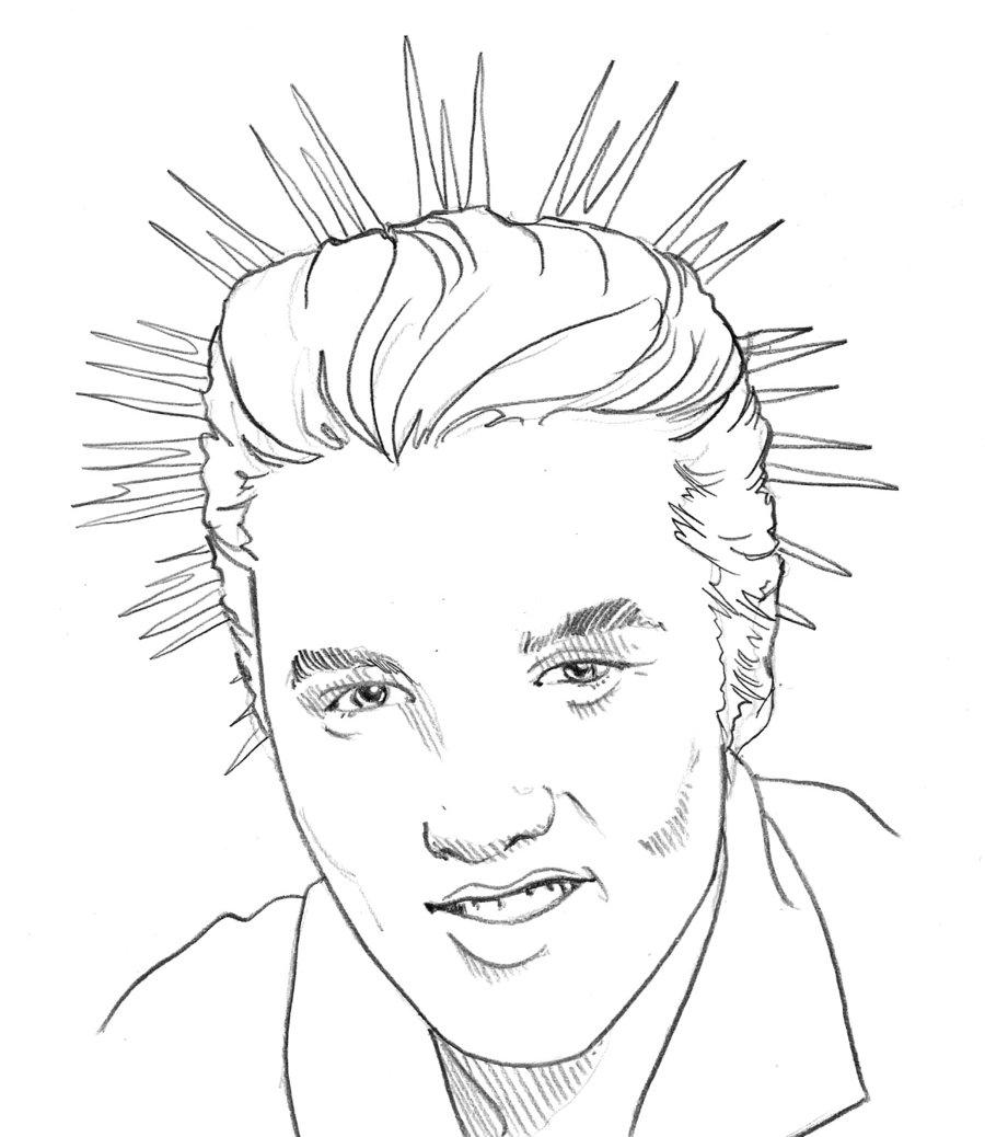 900x1038 Michael Jackson Drawing Of Elvis Presley. Pop Art Portrait